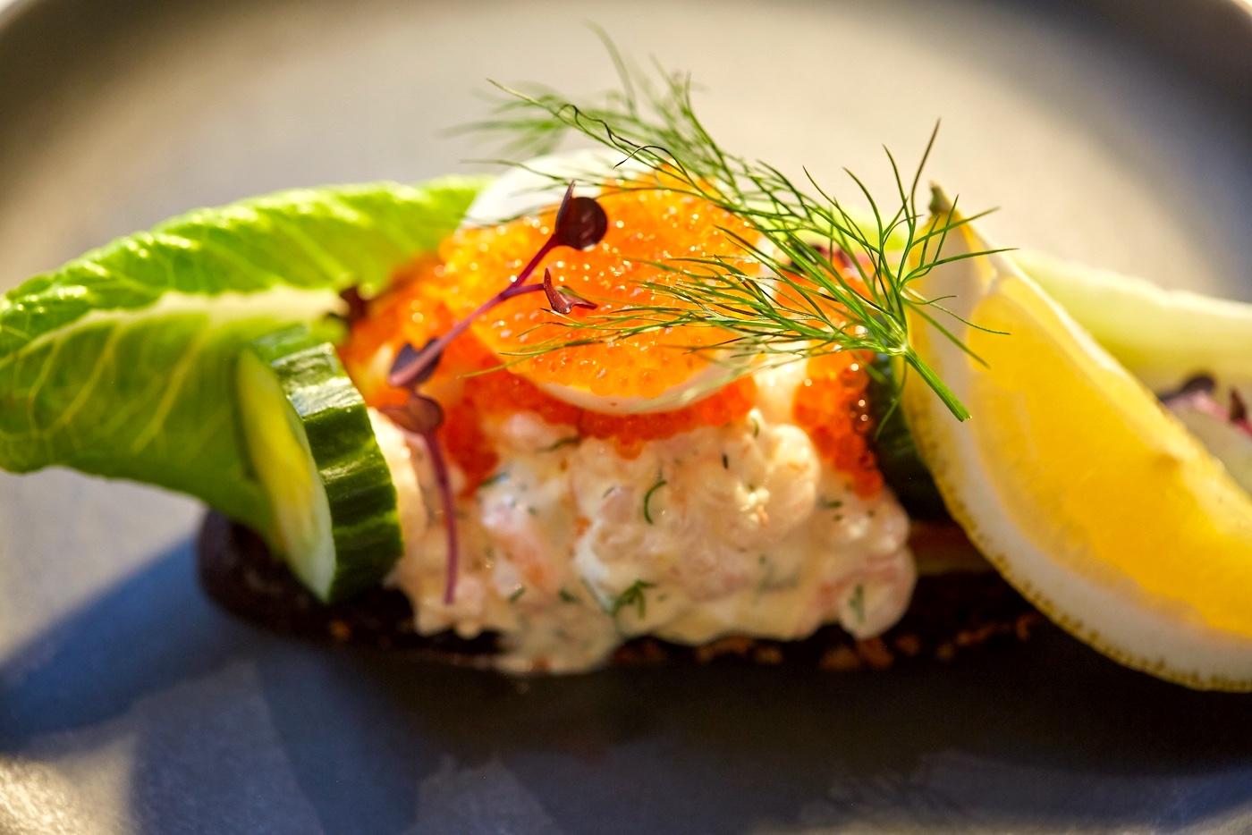 Close-up of Swedish shrimp sandwich.