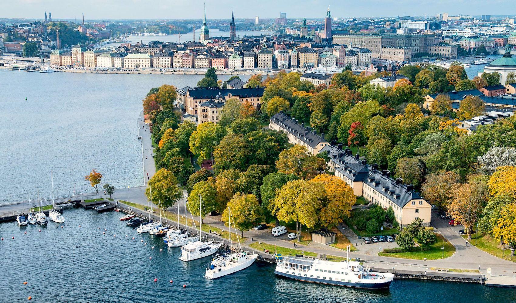 Stockholm city aerial shot during daytime.