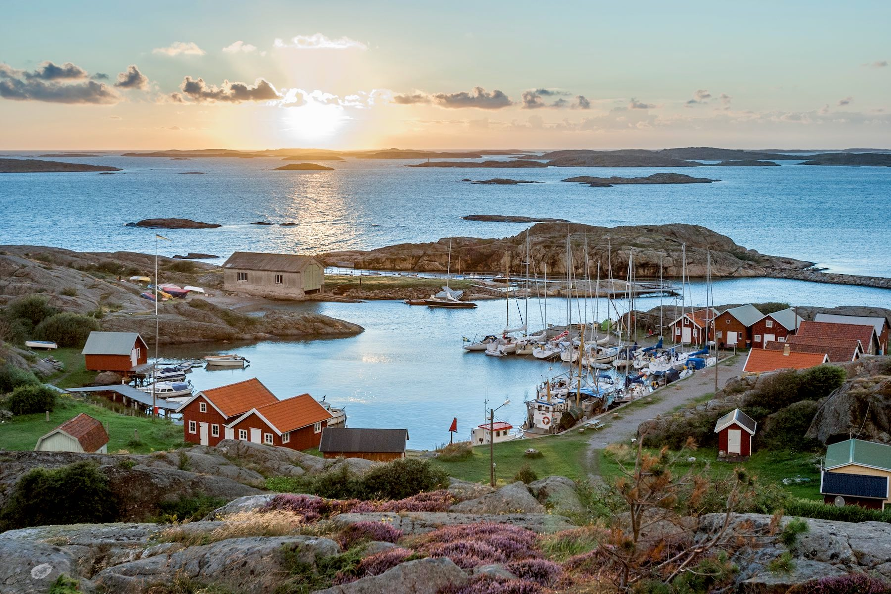 Photo of archipelago at sunset