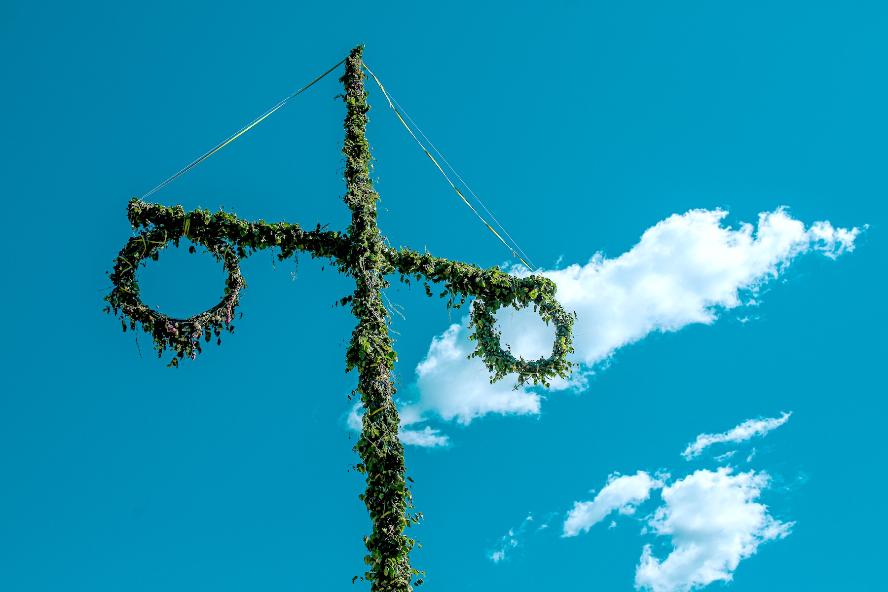 Maypole in Sweden with blue sky in background