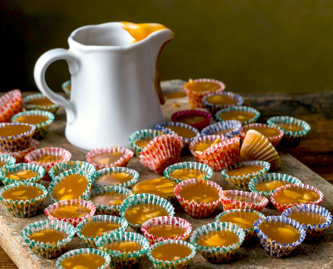 Swedish candy on wooden tray
