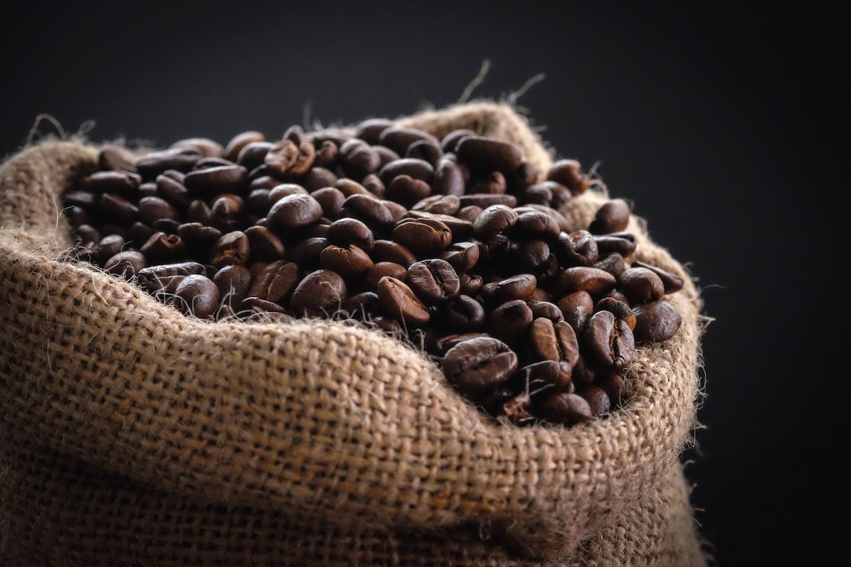 Coffee beans in brown sack