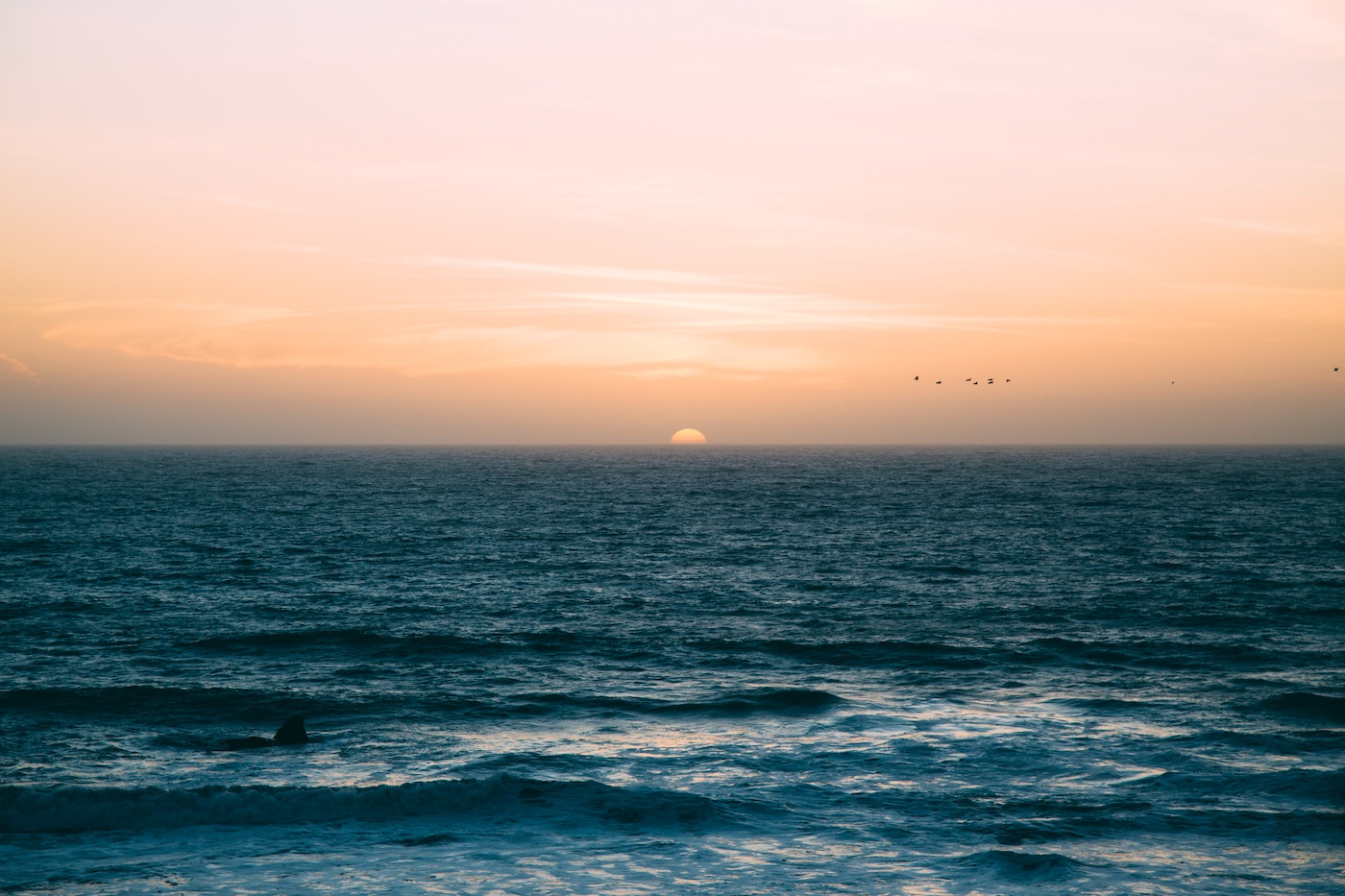 Water with sunset on horizen