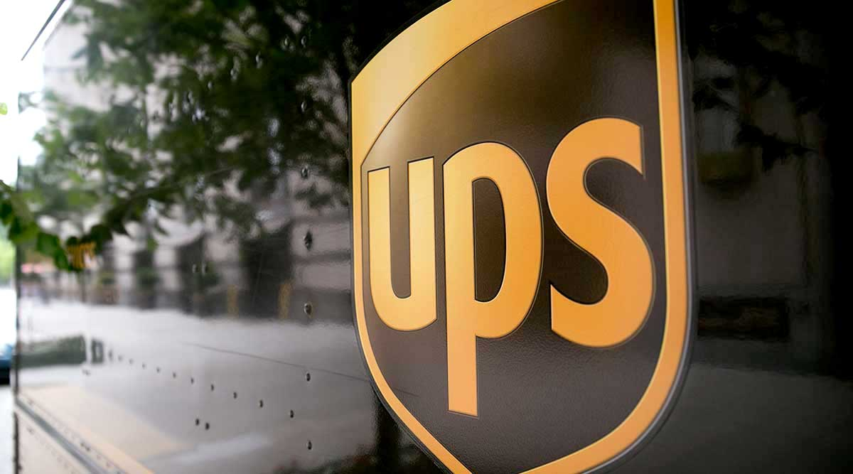 Close-up of UPS delivery truck
