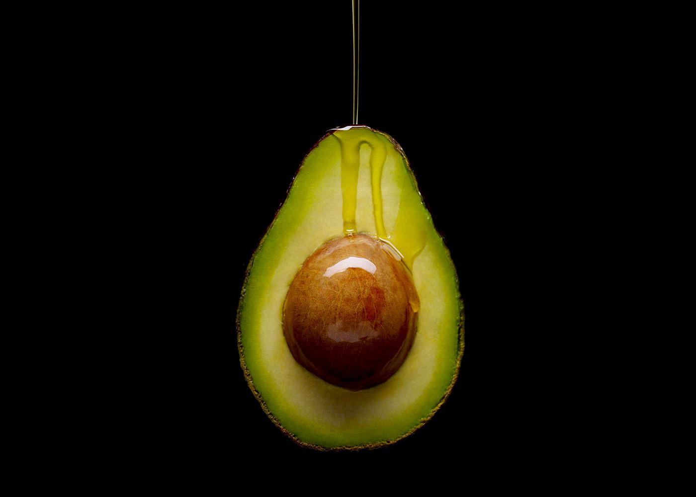 Oil dripping on avocado
