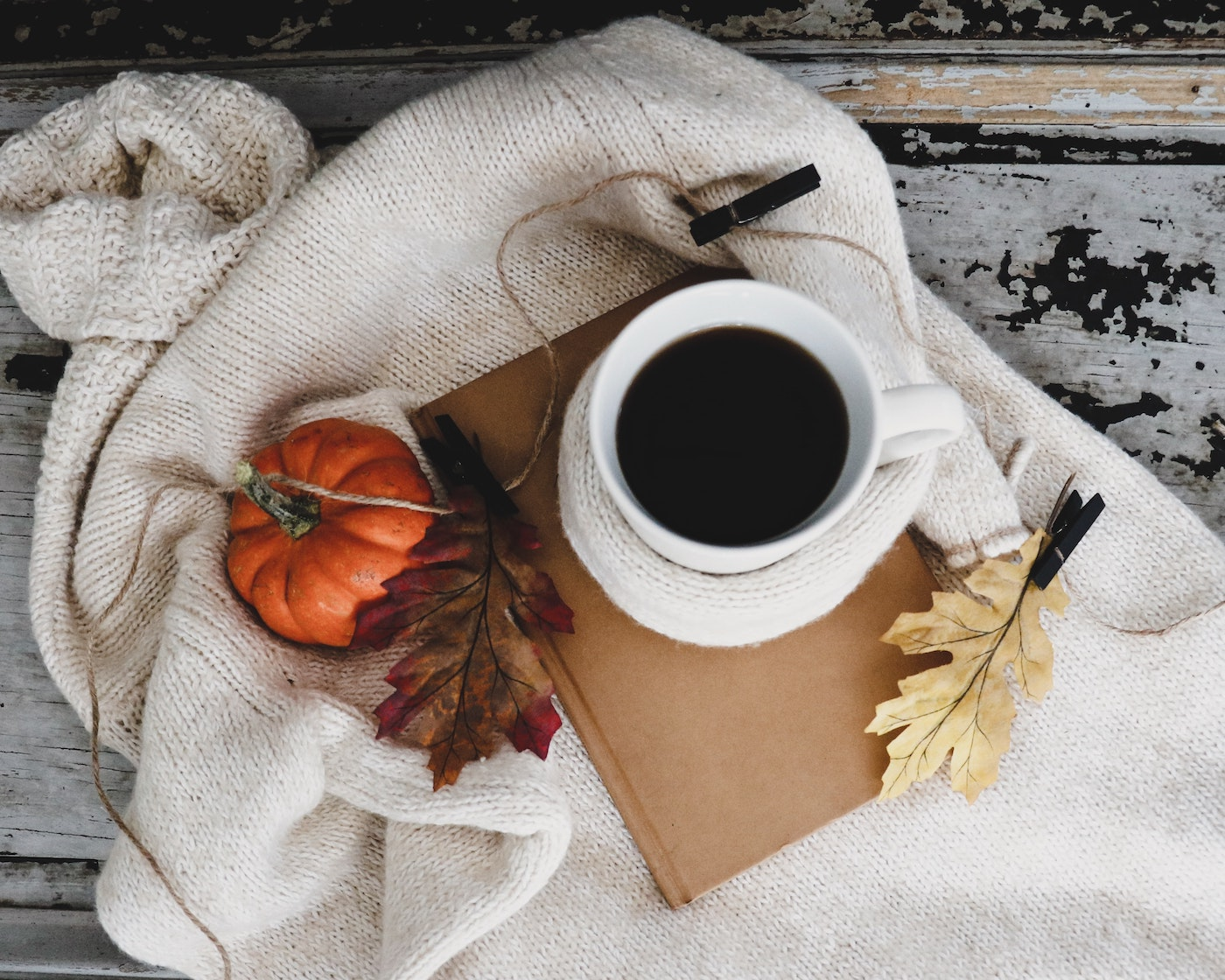 Coffee on ivory blanket